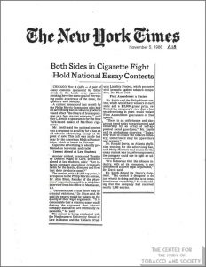 1986-11-05- NY Times - Both Sides in Cig Fight Hold Essay Contests