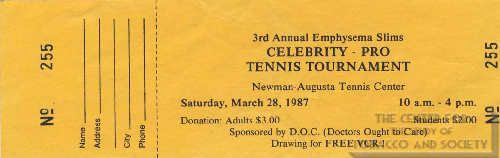 1987-03-28- Emphysema Slims Tournament Ticket