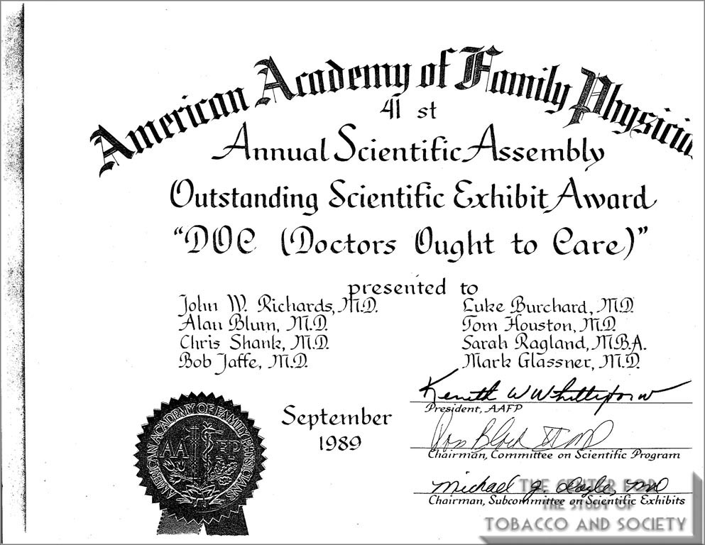 1989- AAFP Outstanding Scientific Exhibit Award