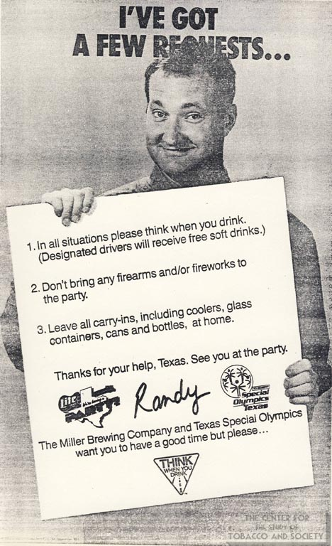 1989- Randy Quaid Guidelines for Special Olympics Party Ad