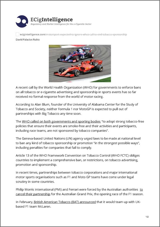 Ecigintelligence PMI and BAT in Formula One Racing 2019