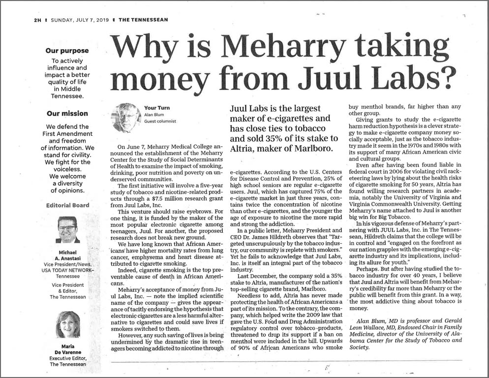 Meharry JUUL AB op ed Tennessean July 7 2019