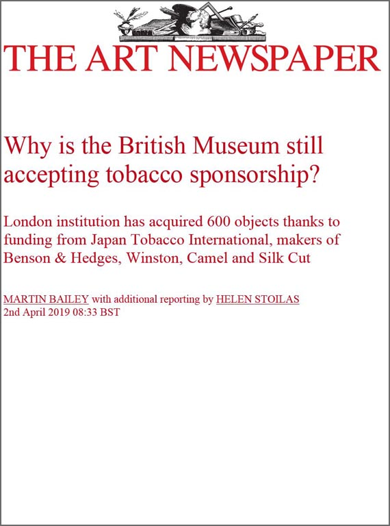 The Art Newspaper on Tobacco Sponsorship of Arts AB quote Helen Stoilas April 2019